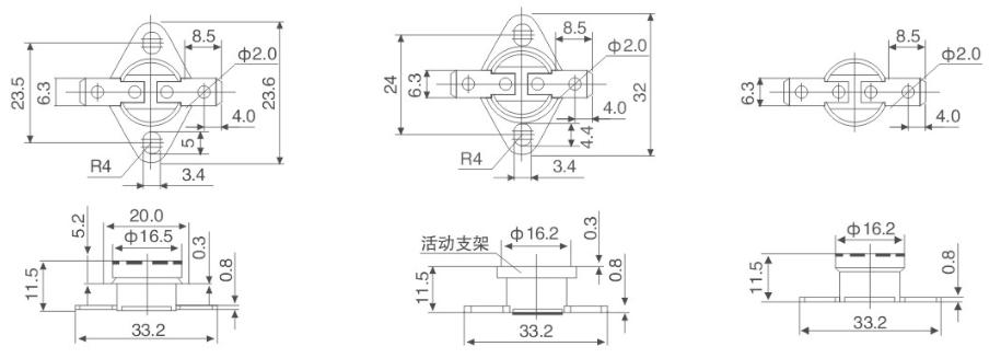KSD301手动复位温控器结构特点: KSD301系列温控器是一种采用双金属片做成的碟形元件。电器正常工作时,双金属片处于自由状态,触点处于闭合(断开)状态。当温度达到动作温度时,双金属片受热产生内应力而迅速动作,打开(闭合)触点,切断(接通)电路,从而起到控温作用。当电器需要再次启动时,需要人工手动干预则进行工作。本产品的主要优势体积小、重量轻、性能稳定、精度准、可靠性高、寿命长、对无线电干忧小、不拉弧等特点。 KSD301温控器性能参数: 电气参数:CQC、VDE、UL、CUL AC250V 50~6